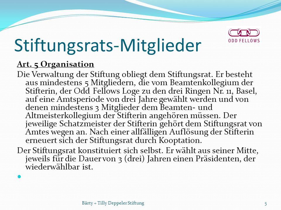 Stiftungsrats-Mitglieder Art. 5 Organisation Die Verwaltung der Stiftung obliegt dem Stiftungsrat.
