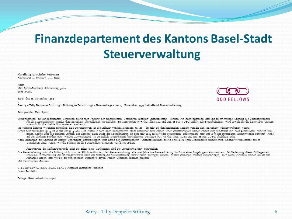Finanzdepartement des Kantons Basel-Stadt Steuerverwaltung Abteilung Juristische Personen Fischmarkt 10, Postfach, 4001 Basel Herrn Max Spörri-Brodbeck Schorenweg 30/11 4058 BASEL Basel, den 22.