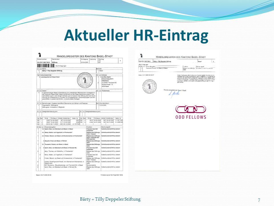 Aktueller HR-Eintrag 7Bärty + Tilly Deppeler Stiftung
