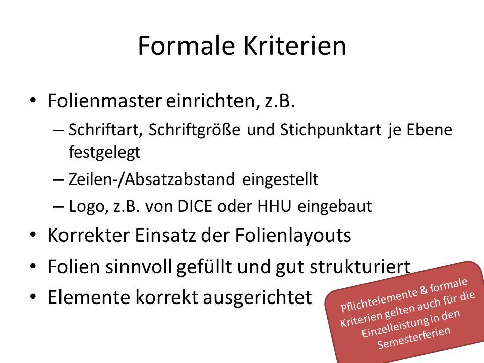 Formale Kriterien Folienmaster einrichten, z.B.