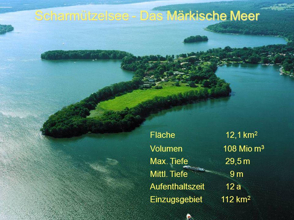 Scharmützelsee - Das Märkische Meer Fläche 12,1 km 2 Volumen 108 Mio m 3 Max. Tiefe 29,5 m Mittl. Tiefe 9 m Aufenthaltszeit 12 a Einzugsgebiet 112 km