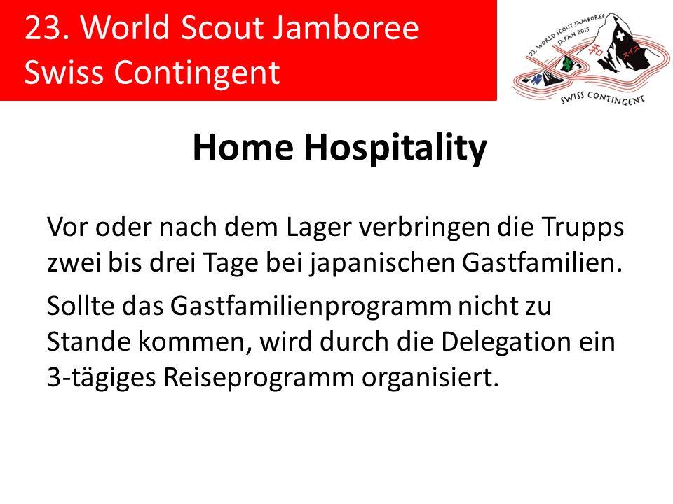 23. World Scout Jamboree Swiss Contingent Home Hospitality Vor oder nach dem Lager verbringen die Trupps zwei bis drei Tage bei japanischen Gastfamili