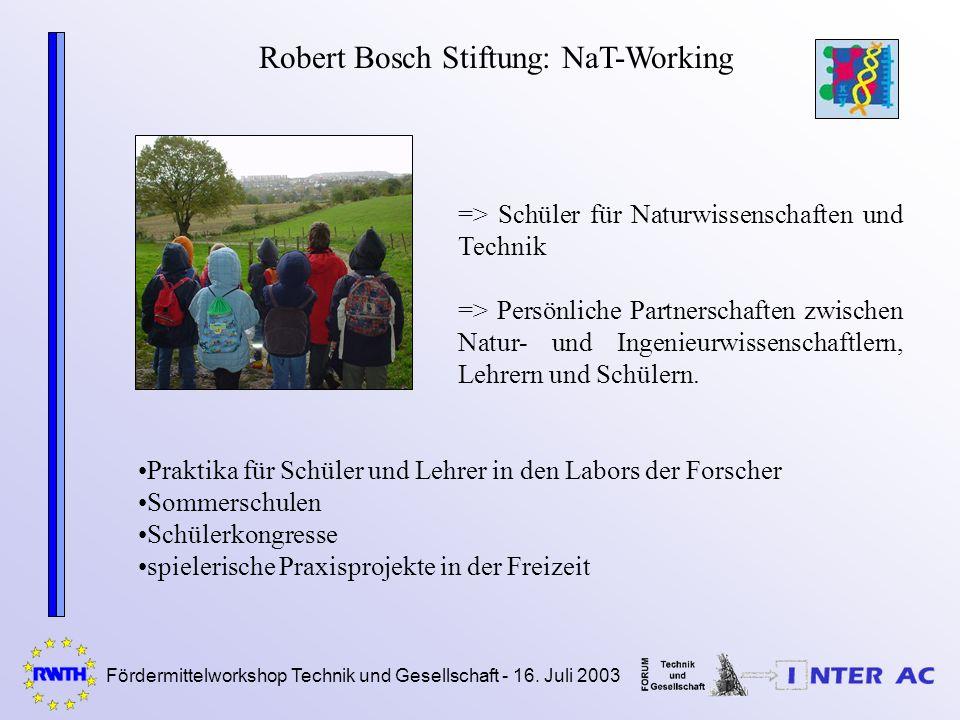 Fördermittelworkshop Technik und Gesellschaft - 16. Juli 2003 Robert Bosch Stiftung: NaT-Working => Schüler für Naturwissenschaften und Technik => Per