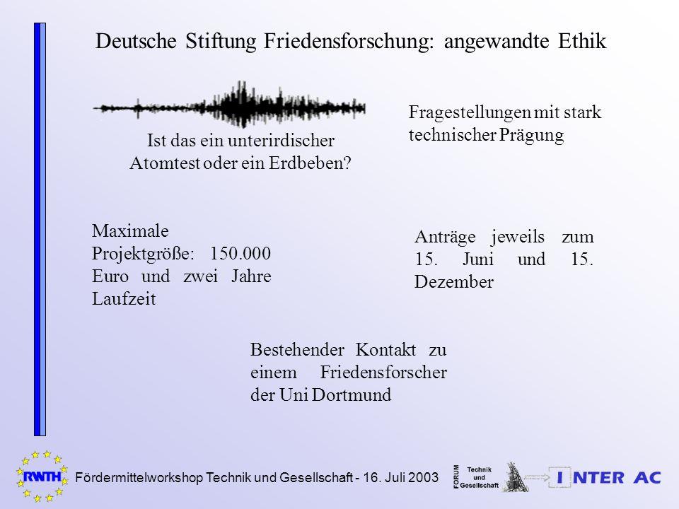 Fördermittelworkshop Technik und Gesellschaft - 16. Juli 2003 Deutsche Stiftung Friedensforschung: angewandte Ethik Ist das ein unterirdischer Atomtes