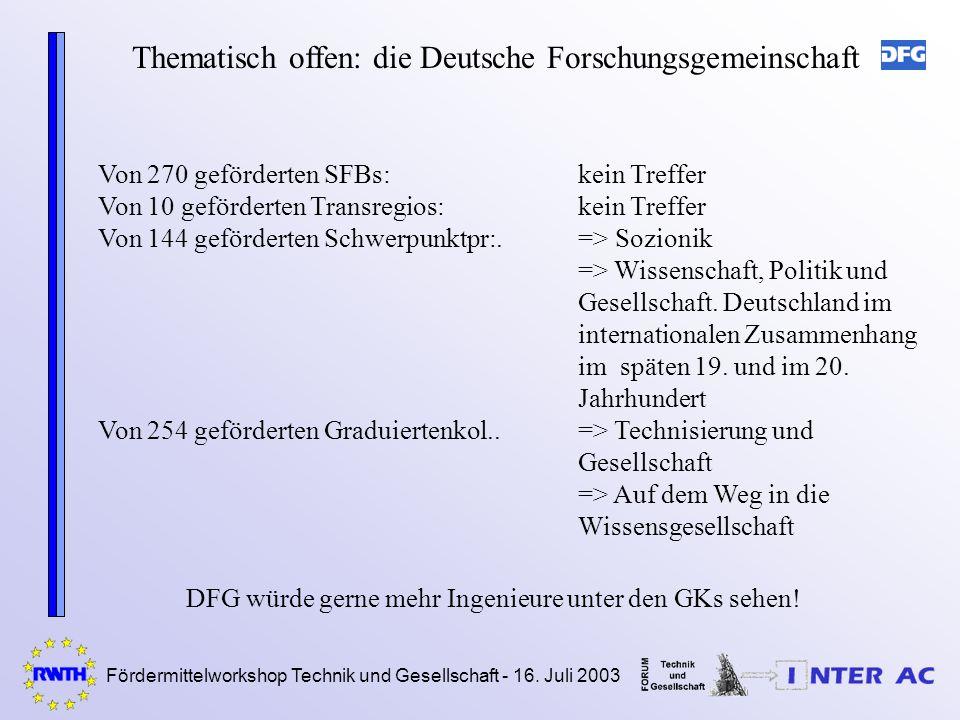 Fördermittelworkshop Technik und Gesellschaft - 16. Juli 2003 Thematisch offen: die Deutsche Forschungsgemeinschaft Von 270 geförderten SFBs:kein Tref