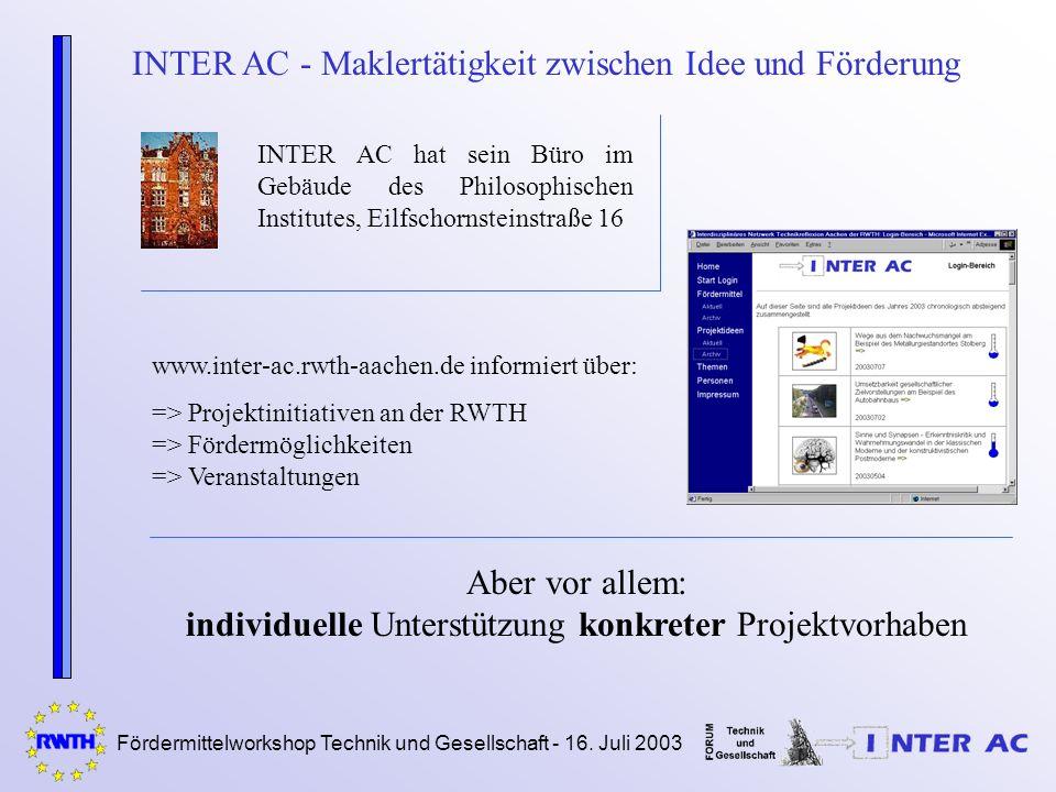 Fördermittelworkshop Technik und Gesellschaft - 16. Juli 2003 INTER AC - Maklertätigkeit zwischen Idee und Förderung INTER AC hat sein Büro im Gebäude