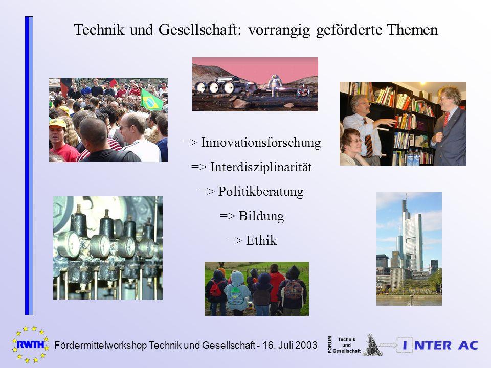 Fördermittelworkshop Technik und Gesellschaft - 16. Juli 2003 Technik und Gesellschaft: vorrangig geförderte Themen => Innovationsforschung => Interdi