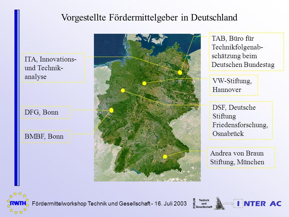 Fördermittelworkshop Technik und Gesellschaft - 16. Juli 2003 Vorgestellte Fördermittelgeber in Deutschland DFG, Bonn BMBF, Bonn Andrea von Braun Stif