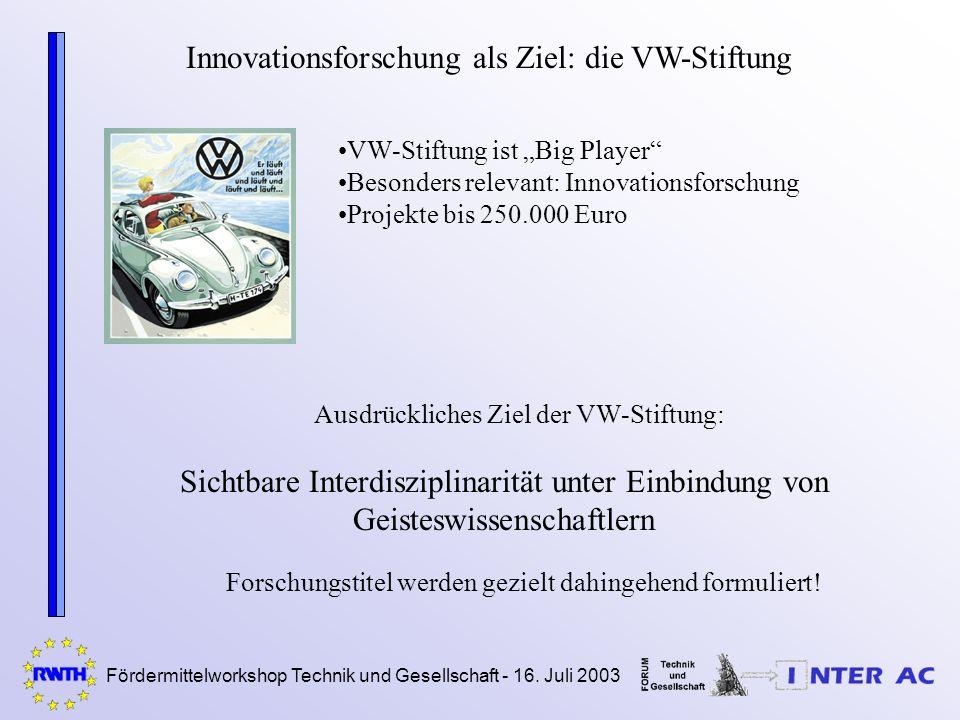 Fördermittelworkshop Technik und Gesellschaft - 16. Juli 2003 Innovationsforschung als Ziel: die VW-Stiftung Ausdrückliches Ziel der VW-Stiftung: VW-S