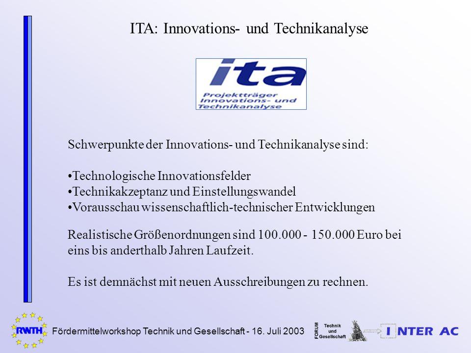 Fördermittelworkshop Technik und Gesellschaft - 16. Juli 2003 ITA: Innovations- und Technikanalyse Schwerpunkte der Innovations- und Technikanalyse si