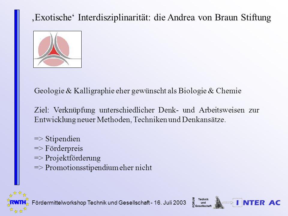Fördermittelworkshop Technik und Gesellschaft - 16. Juli 2003 Exotische Interdisziplinarität: die Andrea von Braun Stiftung Geologie & Kalligraphie eh