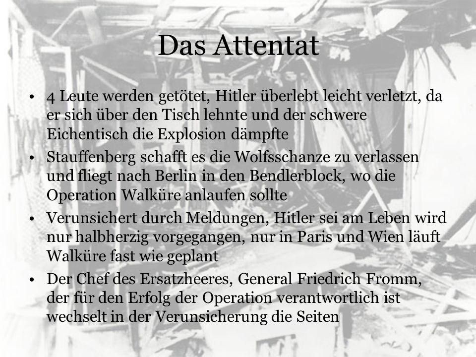 Das Attentat Viele Verschwörer konnten erst nach langer Überzeugungsarbeit zum Widerstand gebracht werden, diese wankten nun und warteten ab Erst durch das Eintreffen Stauffenbergs gerät die Operation in vollen Gang Jedoch steht nun fest, dass Hitler überlebt hat und hitlertreue Offiziere beginnen Gegenoffensive Um 23 Uhr ist der Bendlerblock wieder unter Kontrolle, der Versuch des Aufstandes gescheitert