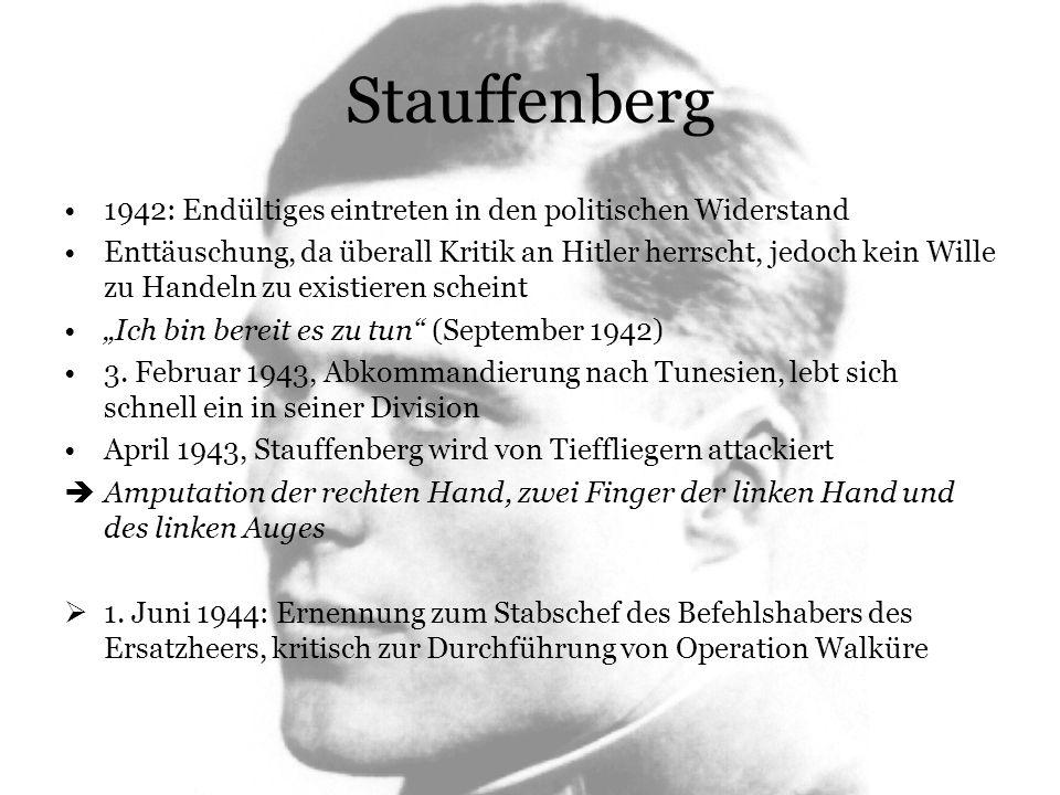 Stauffenberg 1942: Endültiges eintreten in den politischen Widerstand Enttäuschung, da überall Kritik an Hitler herrscht, jedoch kein Wille zu Handeln