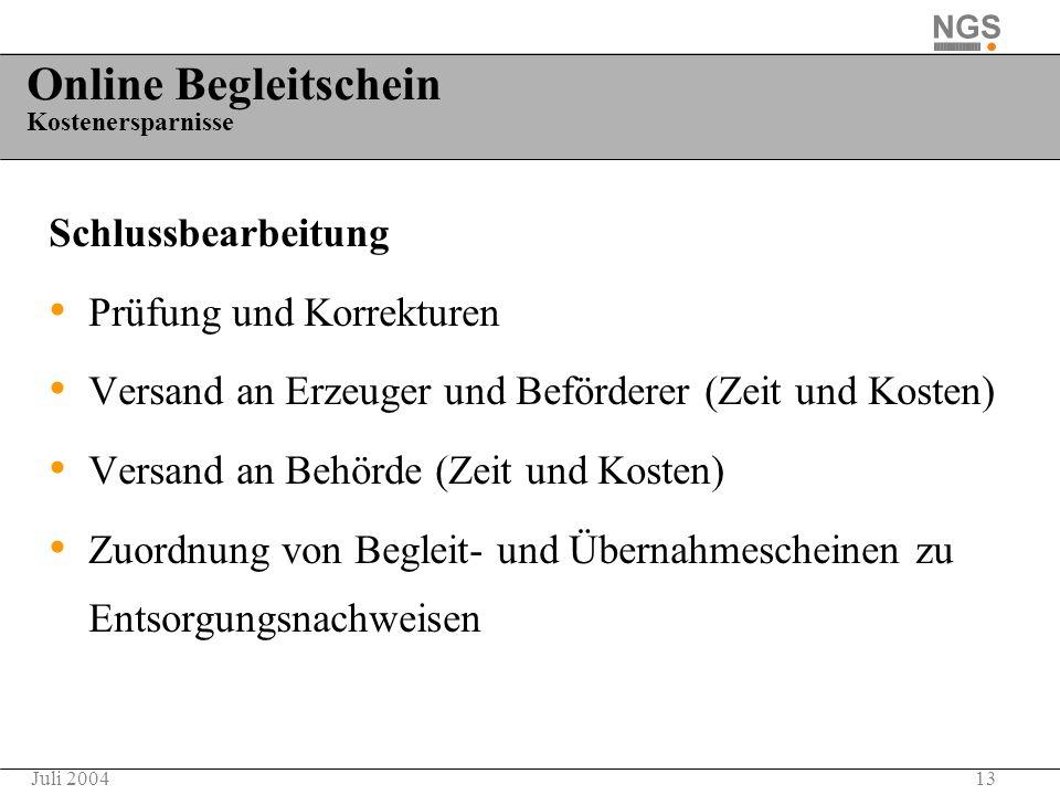 13Juli 2004 Online Begleitschein Kostenersparnisse Schlussbearbeitung Prüfung und Korrekturen Versand an Erzeuger und Beförderer (Zeit und Kosten) Ver