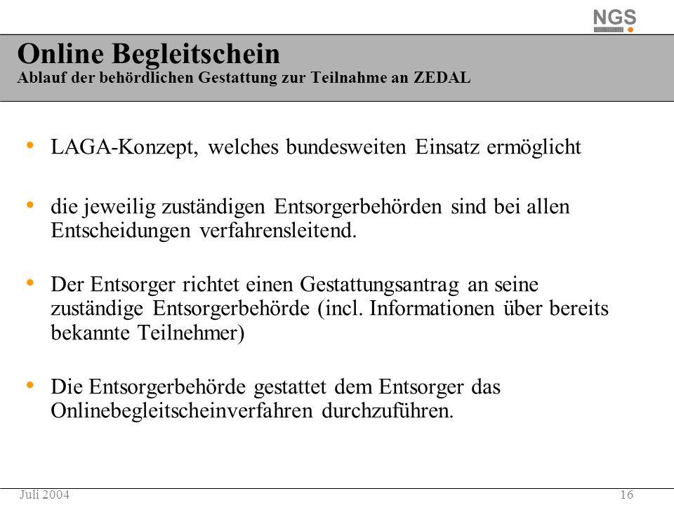 16Juli 2004 Online Begleitschein Ablauf der behördlichen Gestattung zur Teilnahme an ZEDAL LAGA-Konzept, welches bundesweiten Einsatz ermöglicht die j