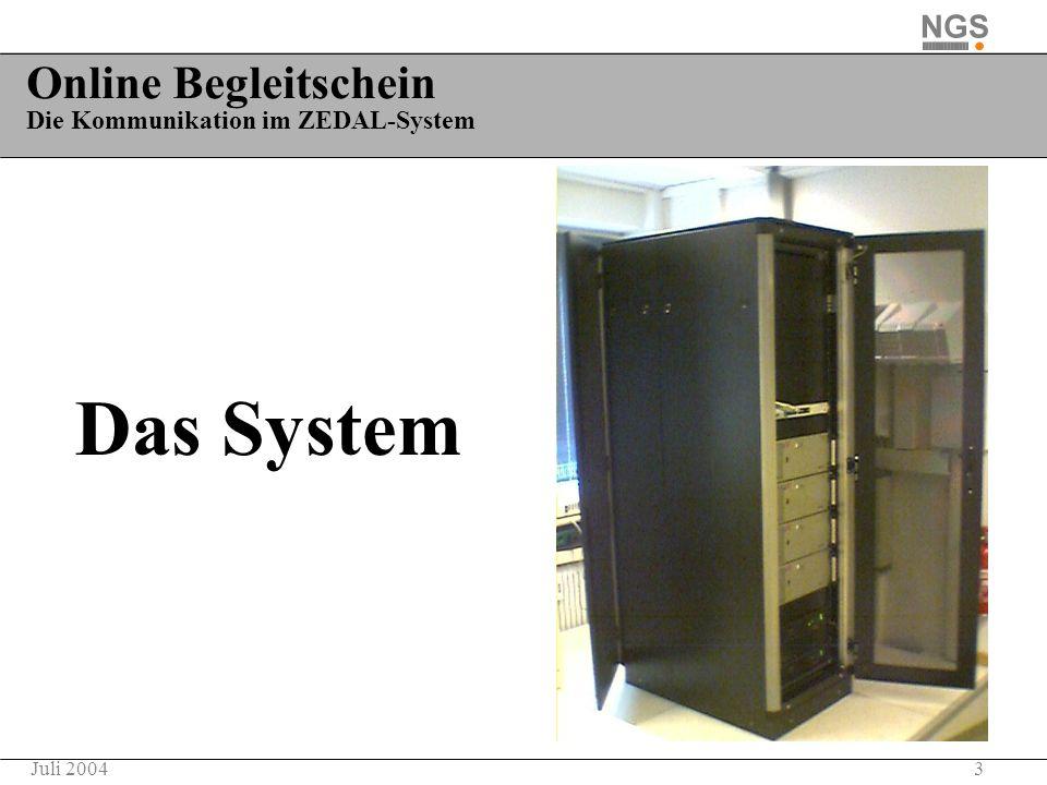 3Juli 2004 Online Begleitschein Die Kommunikation im ZEDAL-System Das System