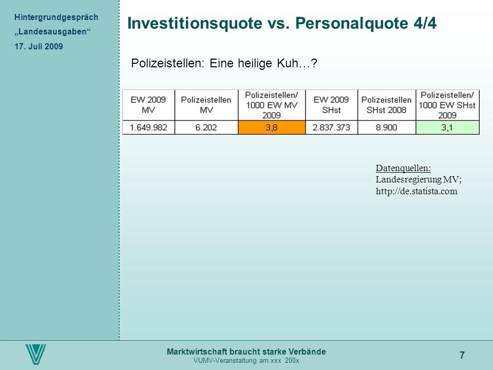 Marktwirtschaft braucht starke Verbände VUMV-Veranstaltung am xxx 200x 7 Investitionsquote vs. Personalquote 4/4 Hintergrundgespräch Landesausgaben 17