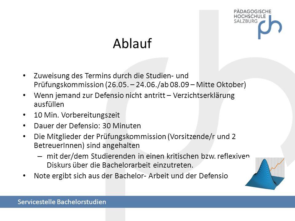 Ablauf Zuweisung des Termins durch die Studien- und Prüfungskommission (26.05. – 24.06./ab 08.09 – Mitte Oktober) Wenn jemand zur Defensio nicht antri