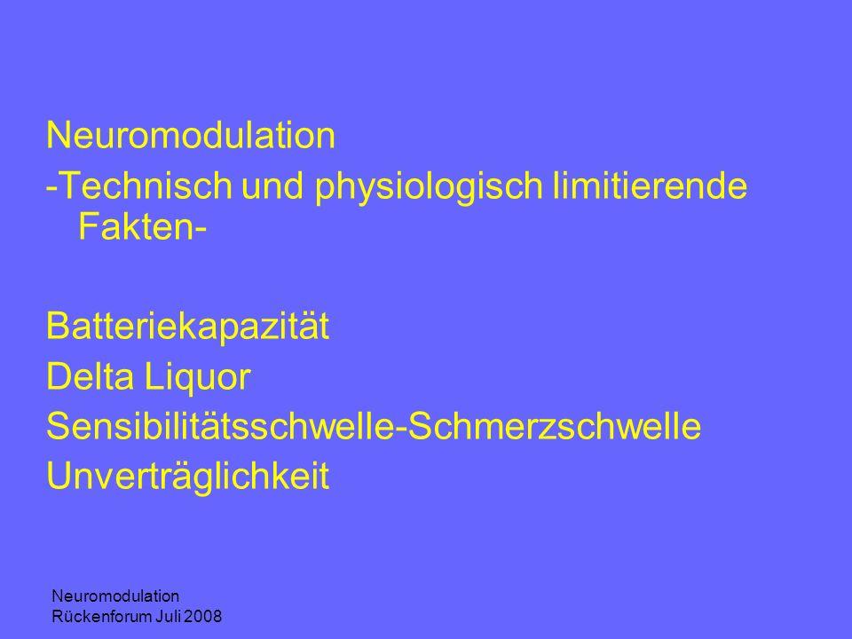 Neuromodulation Rückenforum Juli 2008 Neuromodulation -Technisch und physiologisch limitierende Fakten- Batteriekapazität Delta Liquor Sensibilitätssc