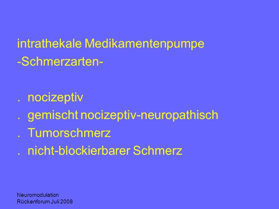 Neuromodulation Rückenforum Juli 2008 intrathekale Medikamentenpumpe -Schmerzarten-.nocizeptiv.gemischt nocizeptiv-neuropathisch.Tumorschmerz.nicht-bl