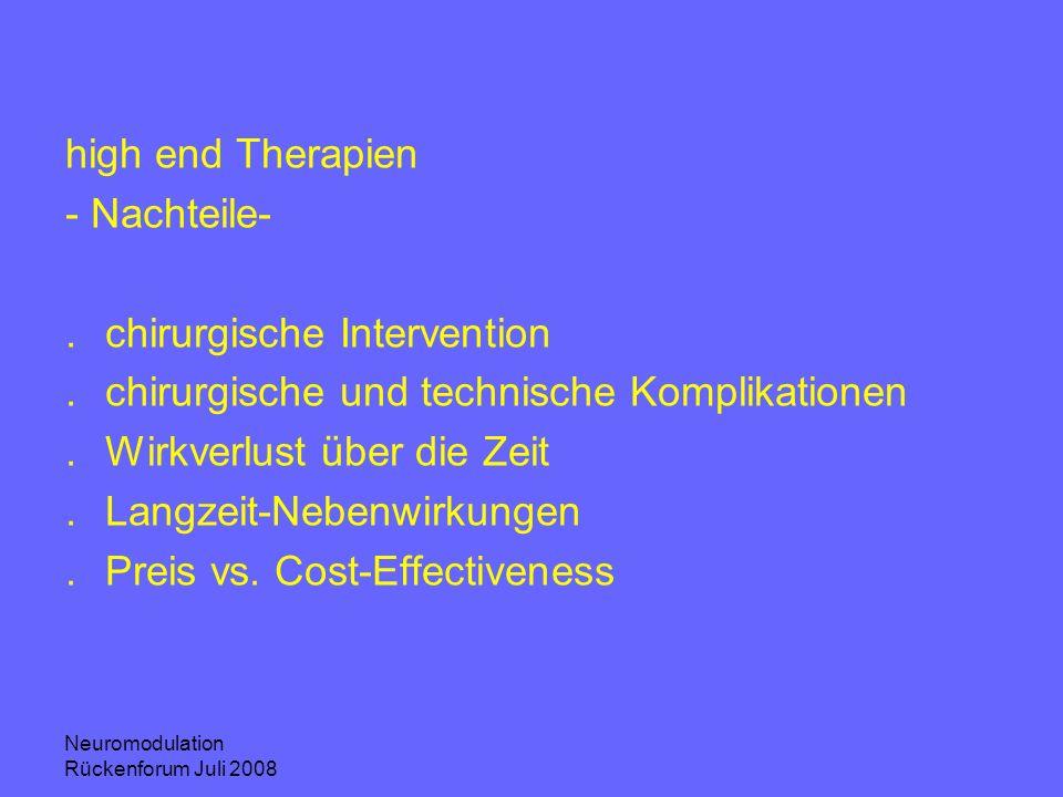 Neuromodulation Rückenforum Juli 2008 high end Therapien - Nachteile-.chirurgische Intervention.chirurgische und technische Komplikationen.Wirkverlust