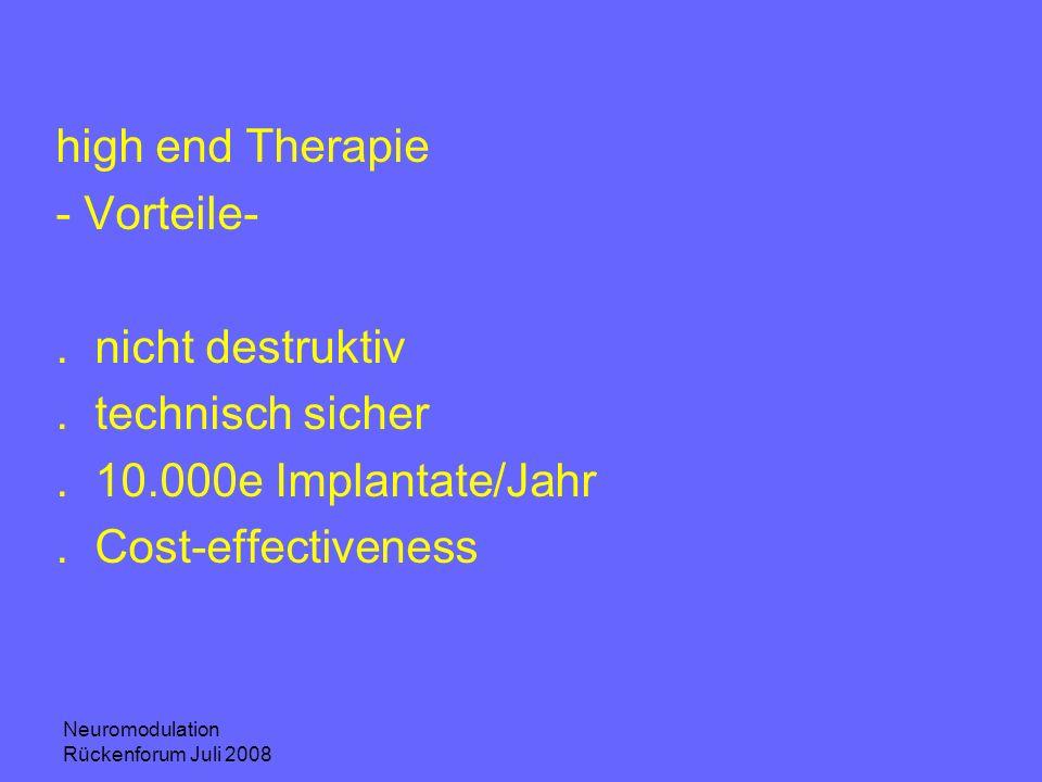Neuromodulation Rückenforum Juli 2008 high end Therapie - Vorteile-.nicht destruktiv.technisch sicher.10.000e Implantate/Jahr.Cost-effectiveness