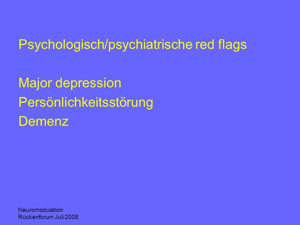 Neuromodulation Rückenforum Juli 2008 Psychologisch/psychiatrische red flags Major depression Persönlichkeitsstörung Demenz