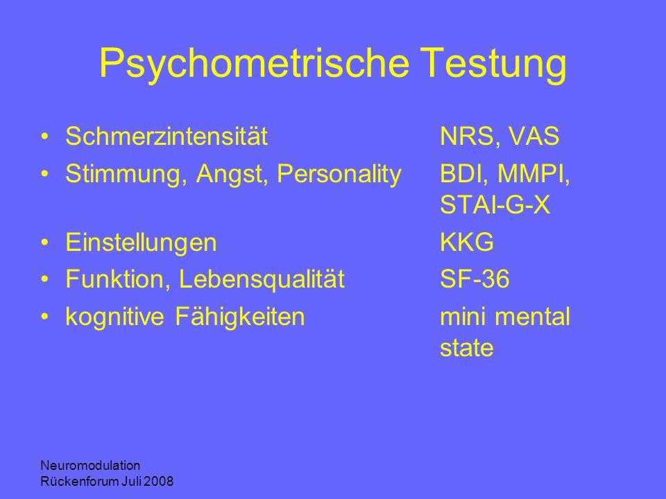 Neuromodulation Rückenforum Juli 2008 Psychometrische Testung SchmerzintensitätNRS, VAS Stimmung, Angst, PersonalityBDI, MMPI, STAI-G-X EinstellungenK