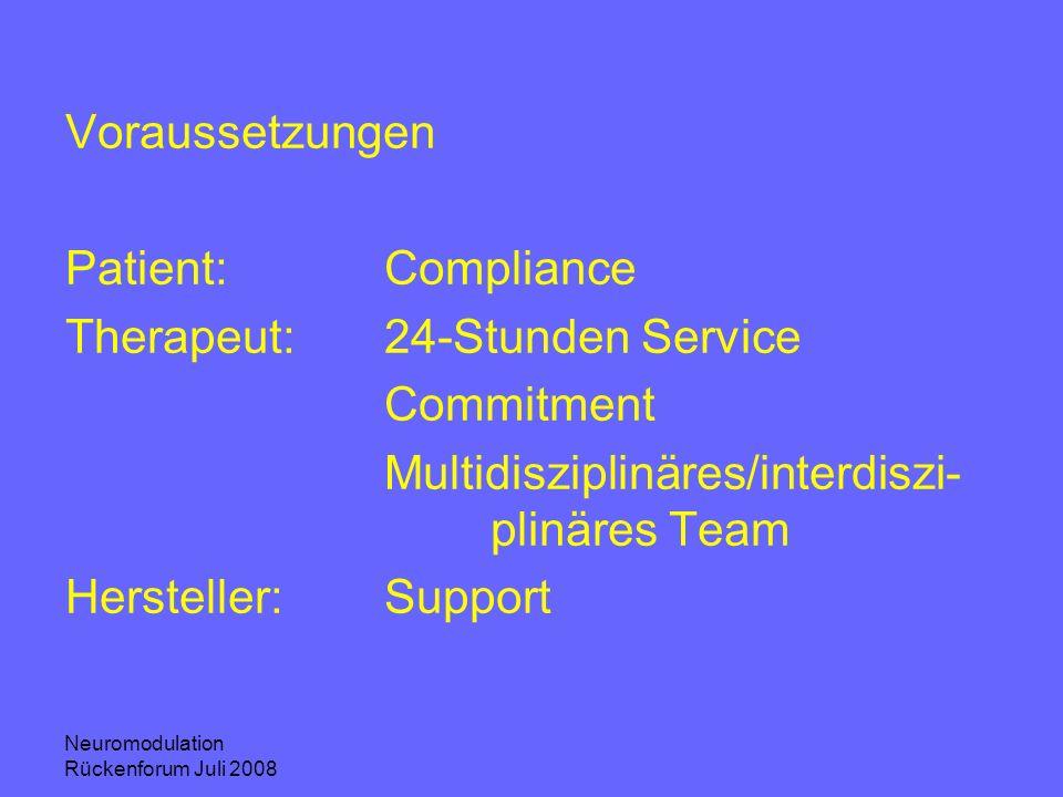 Neuromodulation Rückenforum Juli 2008 Voraussetzungen Patient:Compliance Therapeut:24-Stunden Service Commitment Multidisziplinäres/interdiszi- plinär