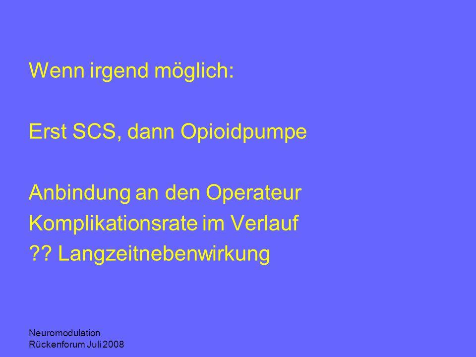 Neuromodulation Rückenforum Juli 2008 Wenn irgend möglich: Erst SCS, dann Opioidpumpe Anbindung an den Operateur Komplikationsrate im Verlauf ?? Langz