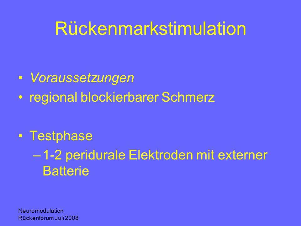 Neuromodulation Rückenforum Juli 2008 Rückenmarkstimulation Voraussetzungen regional blockierbarer Schmerz Testphase –1-2 peridurale Elektroden mit ex