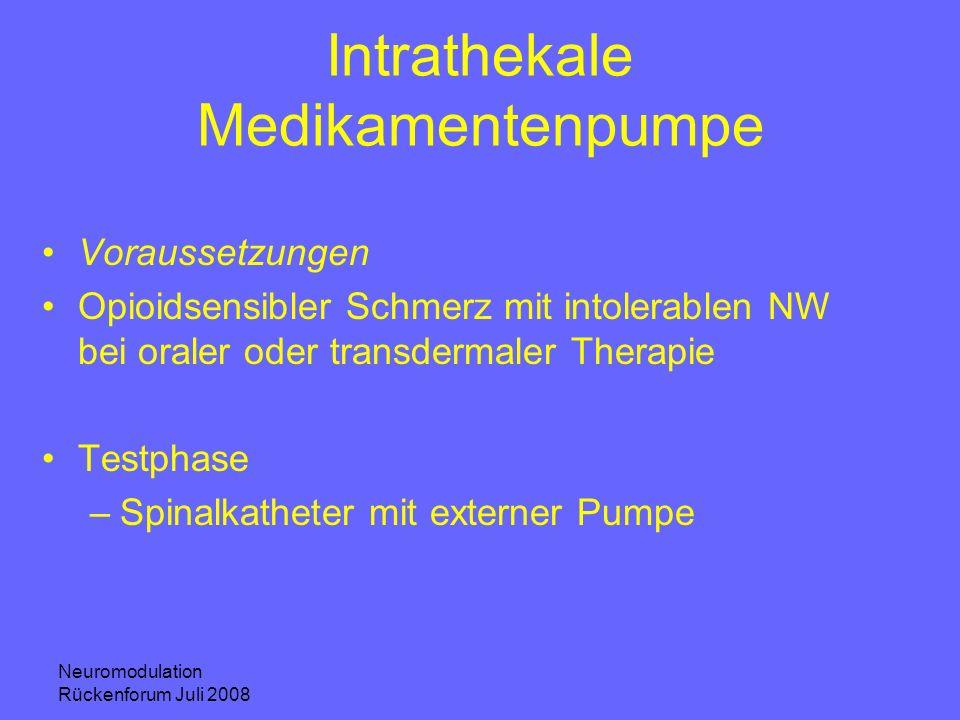 Neuromodulation Rückenforum Juli 2008 Intrathekale Medikamentenpumpe Voraussetzungen Opioidsensibler Schmerz mit intolerablen NW bei oraler oder trans