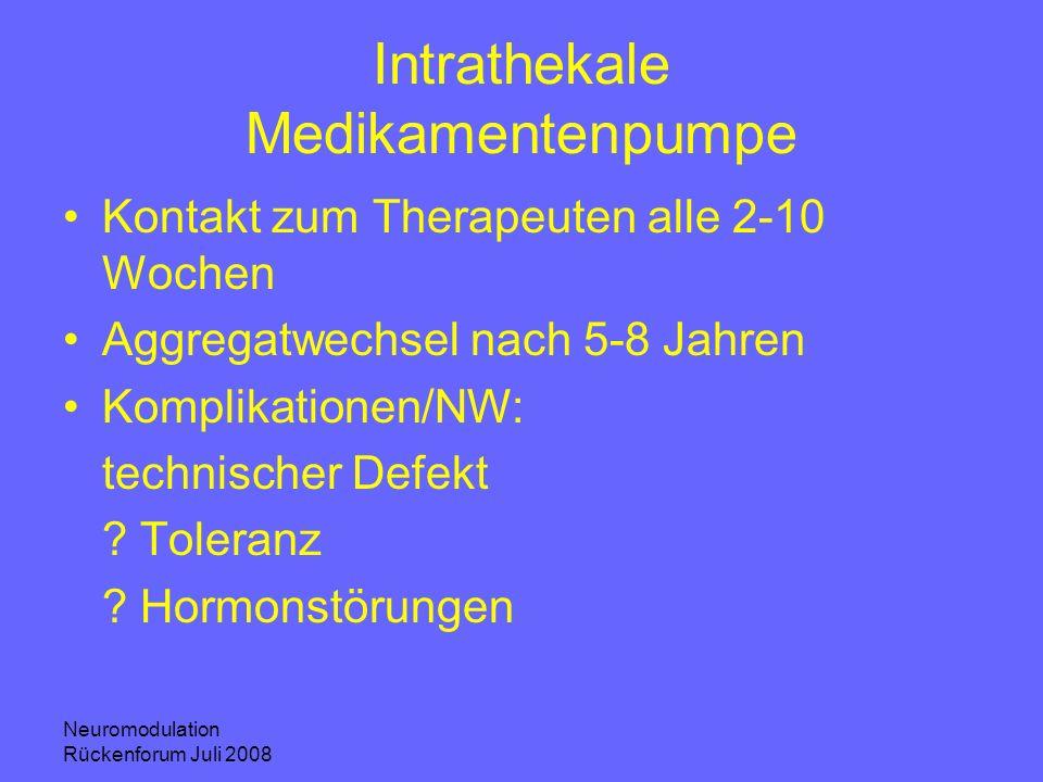 Neuromodulation Rückenforum Juli 2008 Intrathekale Medikamentenpumpe Kontakt zum Therapeuten alle 2-10 Wochen Aggregatwechsel nach 5-8 Jahren Komplika