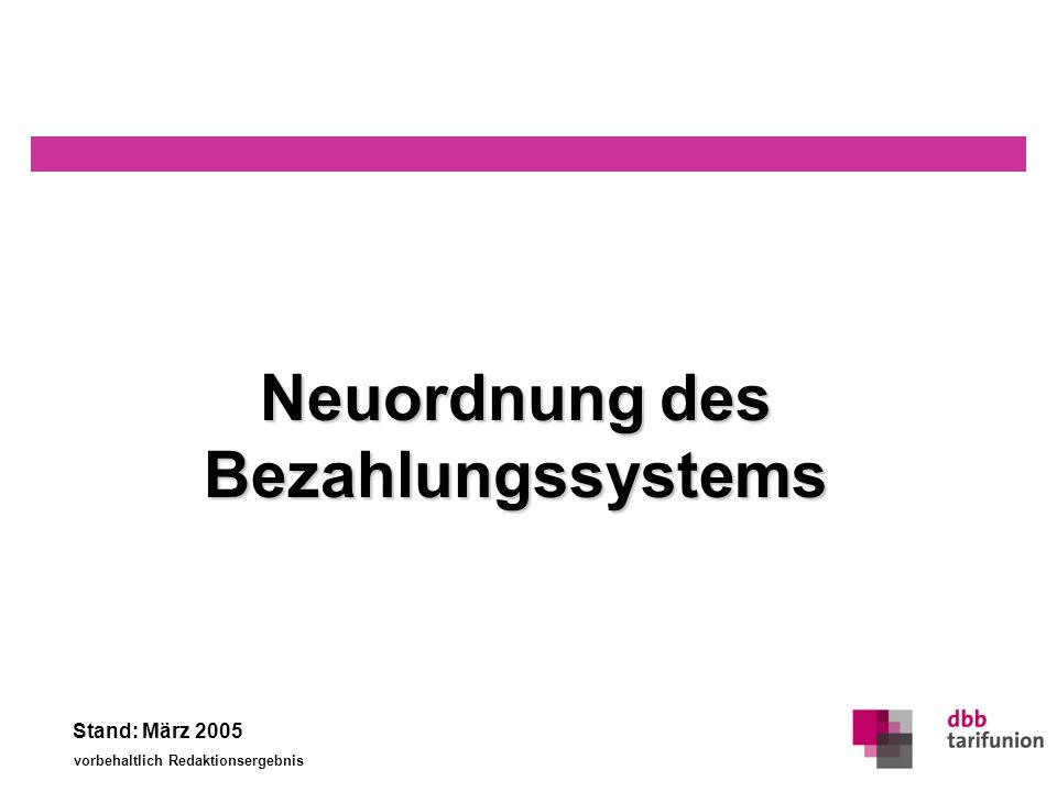 Neuordnung des Bezahlungssystems Stand: März 2005 vorbehaltlich Redaktionsergebnis 0 Neuordnungdes Bezahlungssystems Neuordnung des Bezahlungssystems