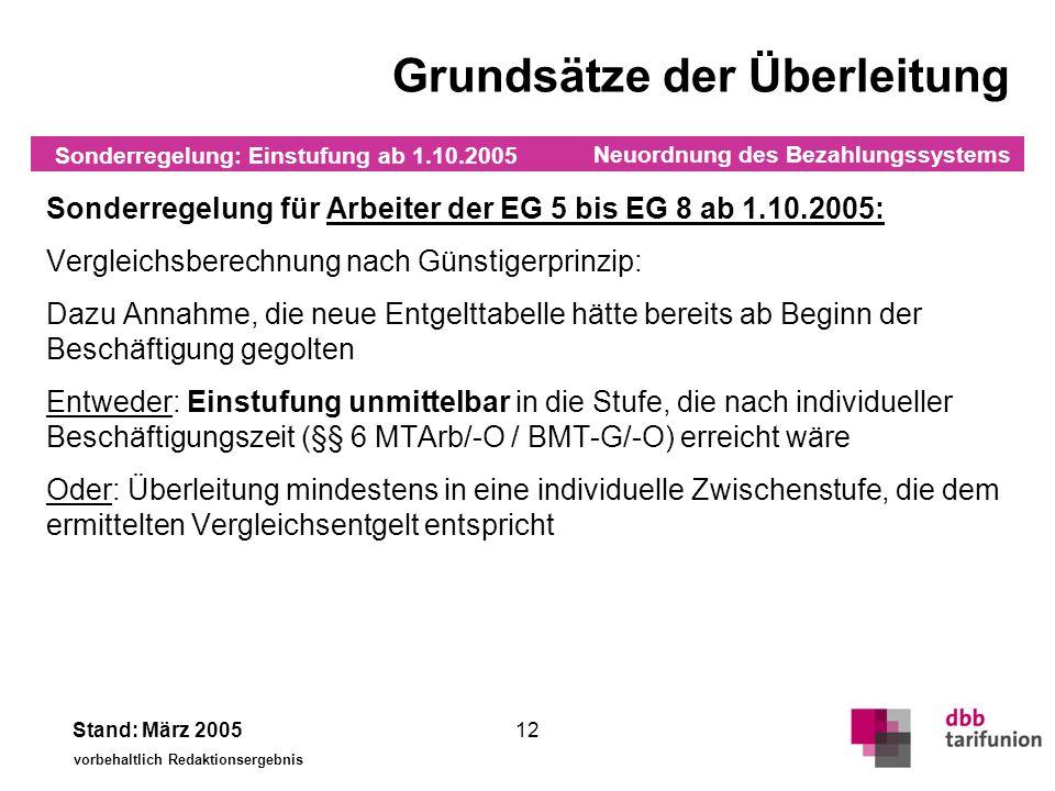 Neuordnung des Bezahlungssystems Stand: März 2005 vorbehaltlich Redaktionsergebnis 12 Sonderregelung für Arbeiter der EG 5 bis EG 8 ab 1.10.2005: Verg