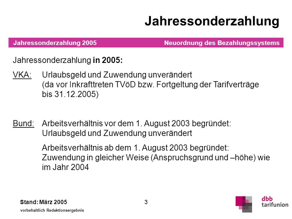 Neuordnung des Bezahlungssystems Stand: März 2005 vorbehaltlich Redaktionsergebnis 3 Jahressonderzahlung Jahressonderzahlung in 2005: VKA:Urlaubsgeld