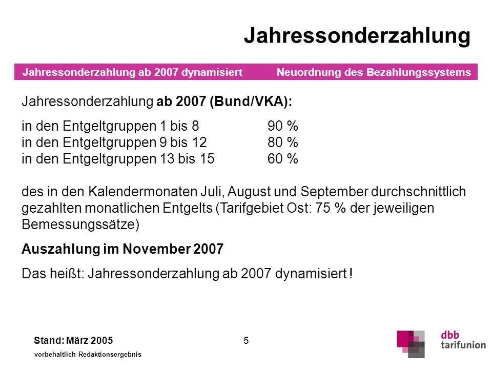 Neuordnung des Bezahlungssystems Stand: März 2005 vorbehaltlich Redaktionsergebnis 5 Jahressonderzahlung Jahressonderzahlung ab 2007 (Bund/VKA): in de