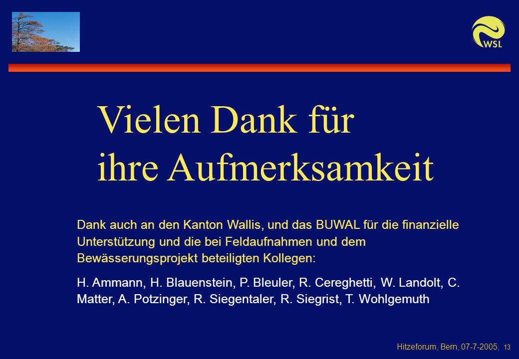 Hitzeforum, Bern, 07-7-2005, 13 Dank auch an den Kanton Wallis, und das BUWAL für die finanzielle Unterstützung und die bei Feldaufnahmen und dem Bewässerungsprojekt beteiligten Kollegen: H.