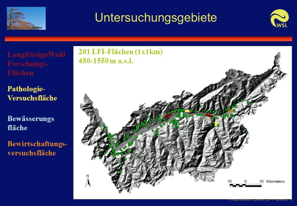 Hitzeforum, Bern, 07-7-2005, 6 Untersuchungsgebiete 201 LFI-Flächen (1x1km) 450-1550 m a.s.l.