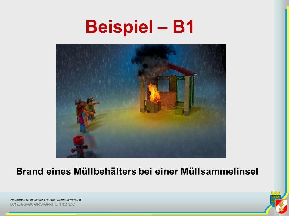Beispiel – B1 Brand eines Müllbehälters bei einer Müllsammelinsel