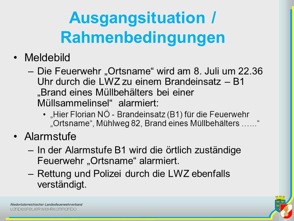 Ausgangsituation / Rahmenbedingungen Datum / Uhrzeit –8.