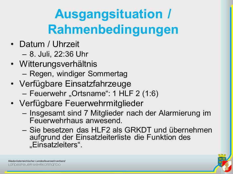Ausgangsituation / Rahmenbedingungen Datum / Uhrzeit –8. Juli, 22:36 Uhr Witterungsverhältnis –Regen, windiger Sommertag Verfügbare Einsatzfahrzeuge –