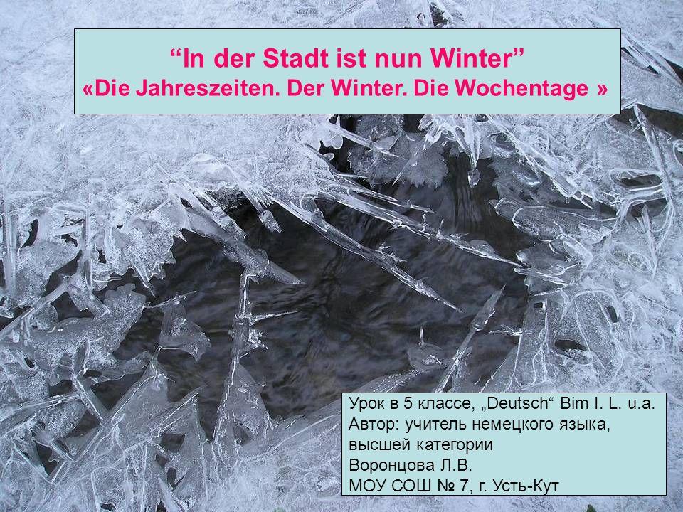 In der Stadt ist nun Winter «Die Jahreszeiten. Der Winter. Die Wochentage » Урок в 5 классе, Deutsch Bim I. L. u.a. Автор: учитель немецкого языка, вы