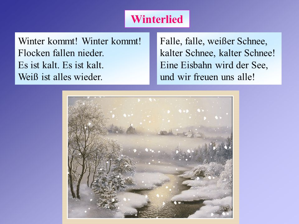 Winterlied Winter kommt.Winter kommt. Flocken fallen nieder.