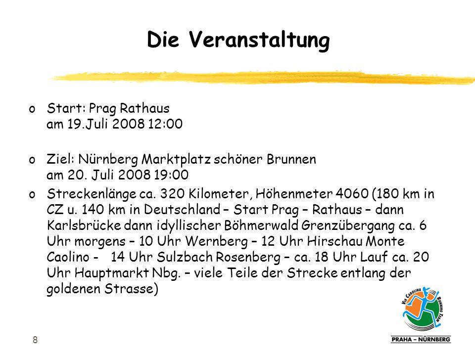 8 oStart: Prag Rathaus am 19.Juli 2008 12:00 oZiel: Nürnberg Marktplatz schöner Brunnen am 20.
