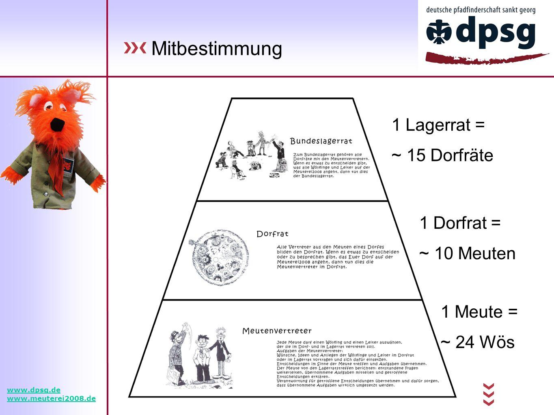 Mitbestimmung www.dpsg.de www.meuterei2008.de 1 Lagerrat = ~ 15 Dorfräte 1 Dorfrat = ~ 10 Meuten 1 Meute = ~ 24 Wös