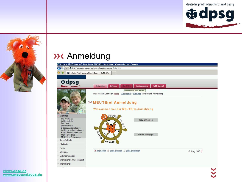 Anmeldung www.dpsg.de www.meuterei2008.de