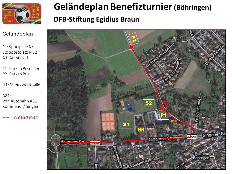 Geländeplan: S1: Sportplatz Nr. 1 S2: Sportplatz Nr.