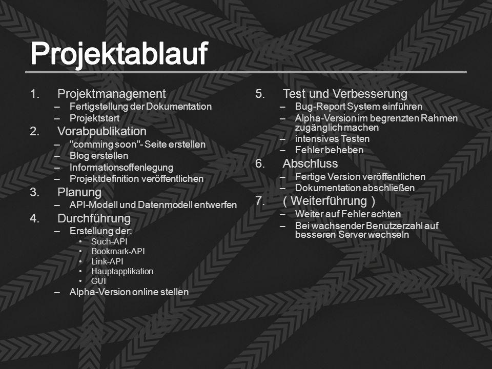 1.Projektmanagement –Fertigstellung der Dokumentation –Projektstart 2.Vorabpublikation –