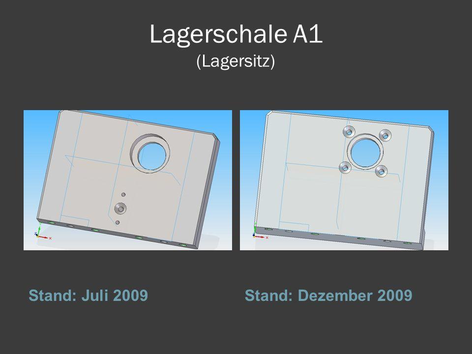 Lagerschale A1 (Lagersitz) Stand: Juli 2009Stand: Dezember 2009